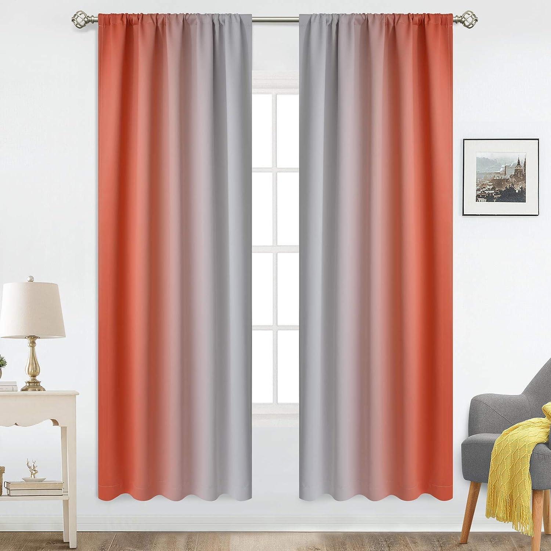 COSVIYA Rod Los Angeles Mall Max 42% OFF Pocket Ombre Room Length inch Curtains 72 Darkening