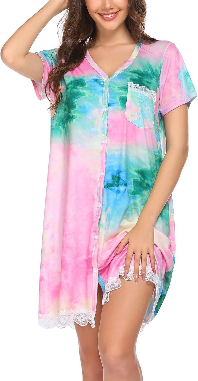 Ekouaer Sleepwear Women's Nightgown Soft Sleep Shirt Lace Deocr Short Sleeve V Neck Sleep Tee Nightshirt