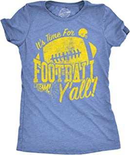 Womens Its Time for Football Yall Funny T Shirt Game Day Graphic Top for Mom