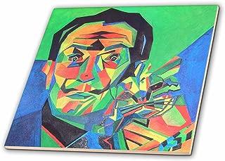 3dRose ct_46752_2 Dali with Ocelot and Cane Dali, Salvador Dali, Ocelot, Portrait, Man, Male, Cat Ceramic Tile, 6-Inch