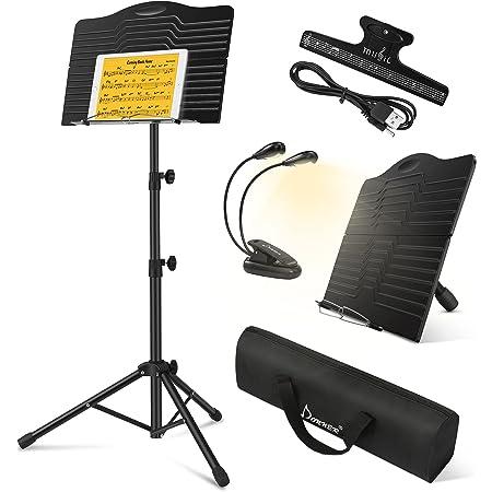 Donner Pupitre Musique Portable en Métal avec Sac de Transport, DMS-1 Porte Pupitre pour Partition en Livres Pliable Hauteur Réglable avec Lampe de Pupitre