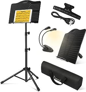 Donner Pupitre Musique Portable en Métal avec Sac de Transport, DMS-1 Porte Pupitre pour Partition en Livres Pliable Haute...