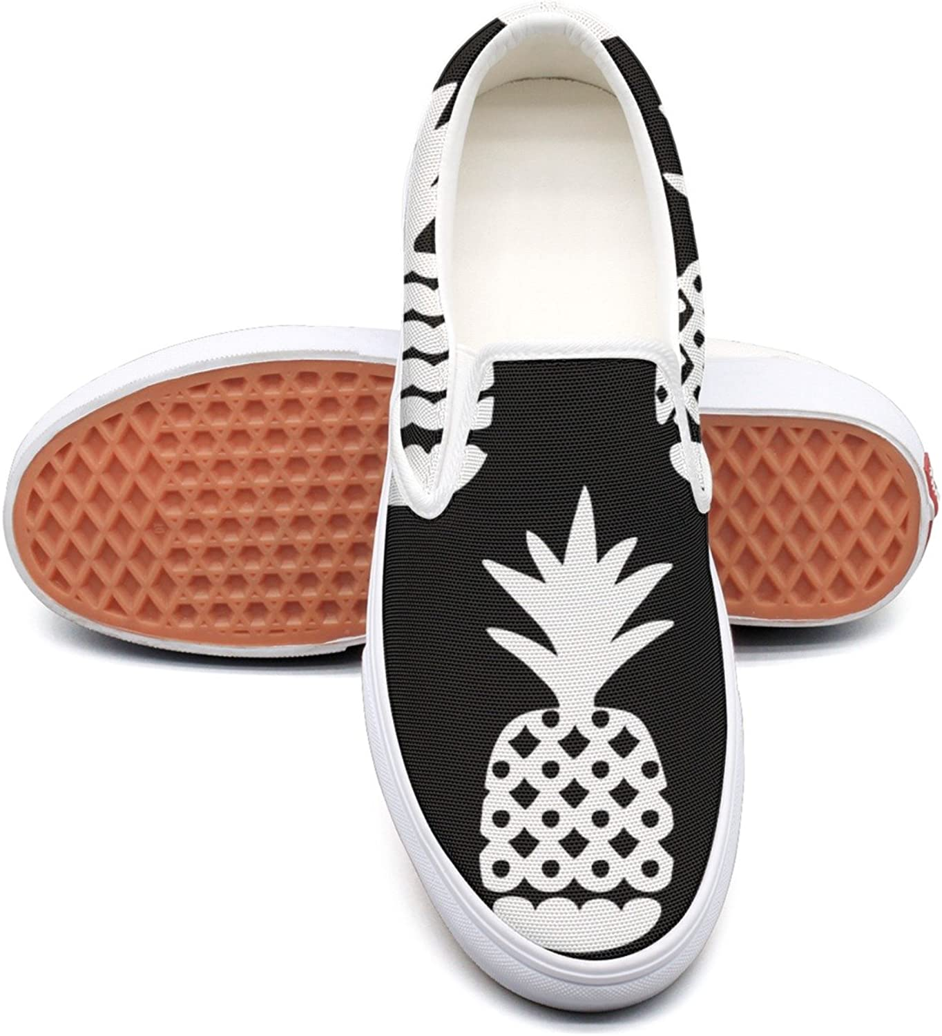SEERTED Black and White Geometric Pineapple Fruit Top Sneakers for Women