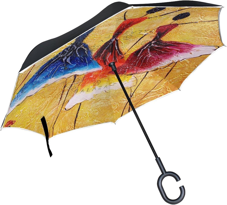 Mydaily Double Layer Ingreened Umbrella Cars Reverse Umbrella African Woman Painting Windproof UV Proof Travel Outdoor Umbrella
