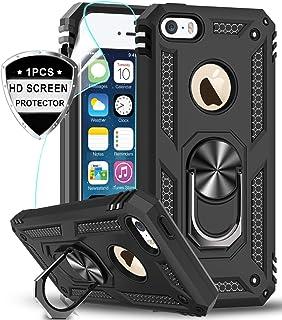LeYi Funda iPhone SE/5S/5 Armor Carcasa con 360 Anillo iman Soporte Hard PC y Silicona TPU Bumper antigolpes Fundas Carcasas Case para movil iPhone SE/5S/5 con HD Protector de Pantalla,Negro