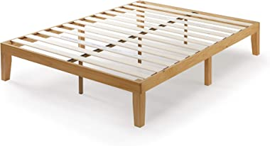 Zinus Moiz Queen Bed Frame 35cm Timber Bed Base Wooden Slats - Natural Wood