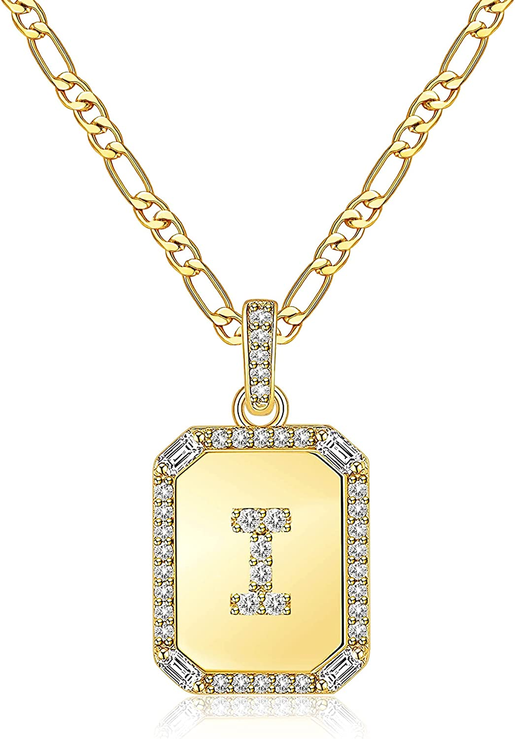 Gold Initial Necklaces for Women,Letter Necklace for Women Girls,Rectangle Necklace with Letters Monogram 18K Gold Plated Alhpabets 26 Pendant Womens Necklace Stainless Steel Box Chain