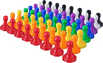 64 Pieces Multicolor Plastic Pawns Pieces Board Games Pieces, 1 Inch Game Pawns Tabletop Pieces Tabletop Markers
