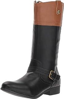 63f076b92 Nine West Girls' EMILIAH Equestrian Boot black/tan 12.5 M US Little Kid