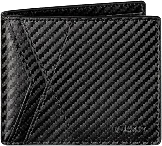 VULKIT Wallet Mens RFID Leather Card Wallet with 8 Card Slot Plus 1 Note Compartment and ID Window Slot, Bifold Wallet Fro...