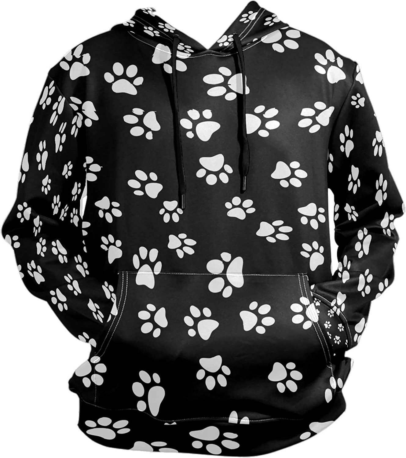 Men's Sport Hoodie Dog Puppy Paw Print Big and Tall Hoodies for Men Women Oversized Hooded Sweatshirt Hip Hop Pullover Hoodie Midweight Hood for Boys Girls