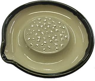 元重製陶所 石見焼 大根おろし皿 中 (直径15cm・すべり止め付) 織部