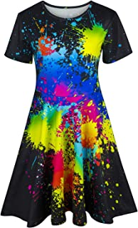 Kayolece Girls Dresses 3D Print Short Sleeve Cute Casual Party Clothes for Kids 2-9Y