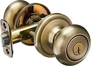 Kwikset Juno Entry Knob Featuring SmartKey in Antique Brass