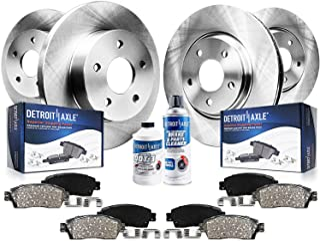 Detroit Axle - All (4) Front Rear Disc Brake Kit Rotors w/Ceramic Pads w/Hardware & Brake Kit Cleaner Fluid for 2004 Ponti...