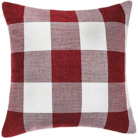 4th Emotion Red White Christmas Buffalo Checkers Plaids Throw Pillow Cover Cushion Case Cotton Linen Home Decorations For Sofa 18 X 18 Inch Home Kitchen