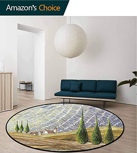RUGSMAT Italian Area Silky Smooth Rugs Rural Fields Europe Carpet Door Pad For Bedroom Living Room Balcony Kitchen Mat Diameter 24