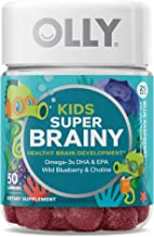 OLLY Kids Super Brainy Gummy Multivitamin, 25 Day Supply (50 Count), Blue Raspberry, Omega 3 DHA EPA, Wild Blueberries, Choline, Chewable Supplement