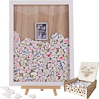 Y&K Homish Wedding Guest Book Wooden Picture Frame, Drop Top Frame Sign Book with 100PCS Wooden Hearts, Rustic Wedding Decorations and The Wedding Gift (White Wooden Frame + Photo)