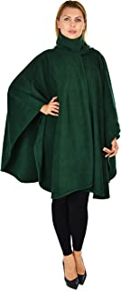 Women Poncho Style Fleece Cover Up with Muffler