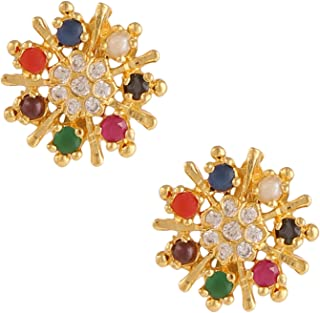 Archi Collection Copper Alloy Multicolour Stud Earrings for Women