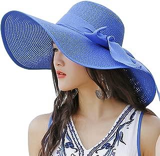 Lanzom Womens Big Bowknot Straw Hat Floppy Foldable Roll up Beach Cap Sun Hat UPF 50+