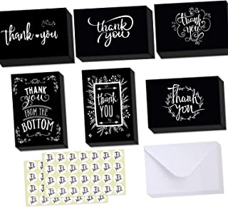 48 Pack Black and White Chalkboard Thank You Cards with Envelopes and Stickers, 6 Assorted Chalk Art Designs Thank You Bulk Notes for Christmas, Funeral, Business and All Occasions 4x6 Inches