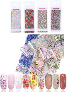 DAGEDA 4 Pack of 40 Pcs Glitter Nail Art Stickers Nail Transfer Foil Wraps-Nail Art DIY Decoration Kit-Floral/Flower/Colorful/Starry Sky/Shining/Marble/Classic- Holographic Nail Foil Sticker