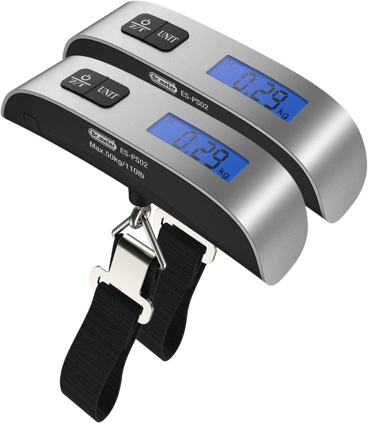 2 Packs of 110lb/50kg Luggage Scale, Dr.meter Backlit LCD Display Electronic Balance Digital Hanging Scale with Rubber Paint Handle, Temperature Sensor-Silver