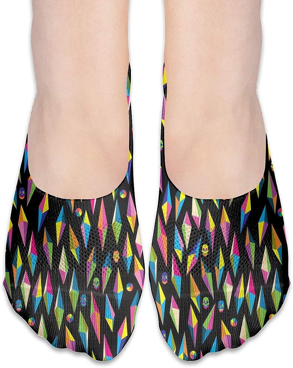 No Show Socks Women Men For Rainbow Geometric Skull Pattern Flats Cotton Ultra Low Cut Liner Socks Non Slip
