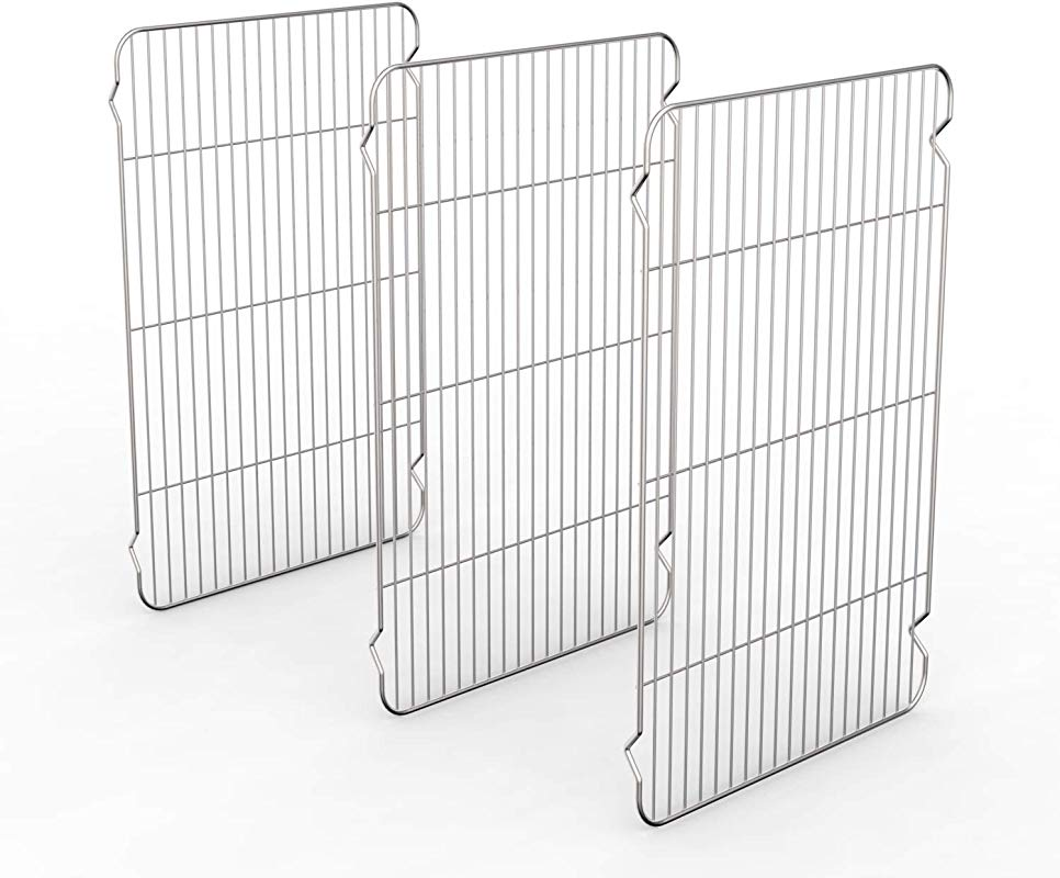 Large Cooling Racks 3 Pack Zacfton Baking Racks 3 Pack Stainless Steel Baking Racks For Cooking Baking Roasting Grilling Cooling Fit Various Size Cookie Sheets Oven Health Dishwasher Safe