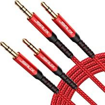 JSAUX AUX Cable, [4ft/2Pack- Copper Shell, Hi-Fi Sound] 3.5mm TRS Auxiliary Audio Cable Nylon Braided Aux Cord Compatible for Car/Home Stereos,Speaker,Headphones,Sony,Echo Dot,Beats - Red…