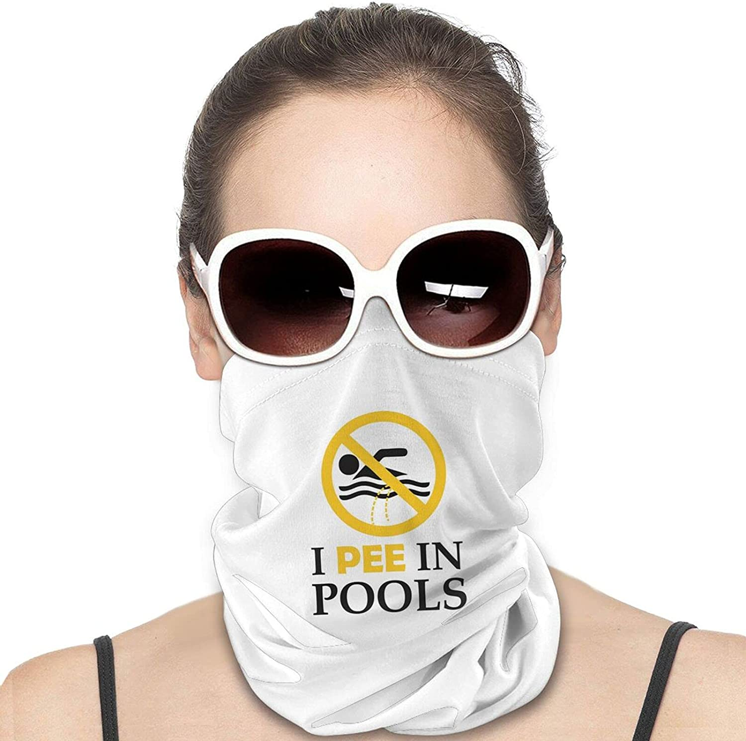 I Pee in Pools Round Neck Gaiter Bandnas Face Cover Uv Protection Prevent bask in Ice Scarf Headbands Perfect for Motorcycle Cycling Running Festival Raves Outdoors