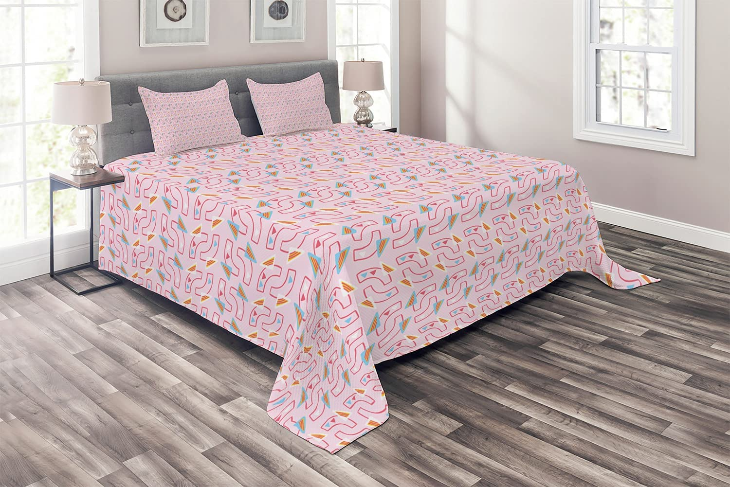 Ambesonne Be super welcome Abstract Coverlet Pastel Retro Geom Style Art Memphis At the price of surprise