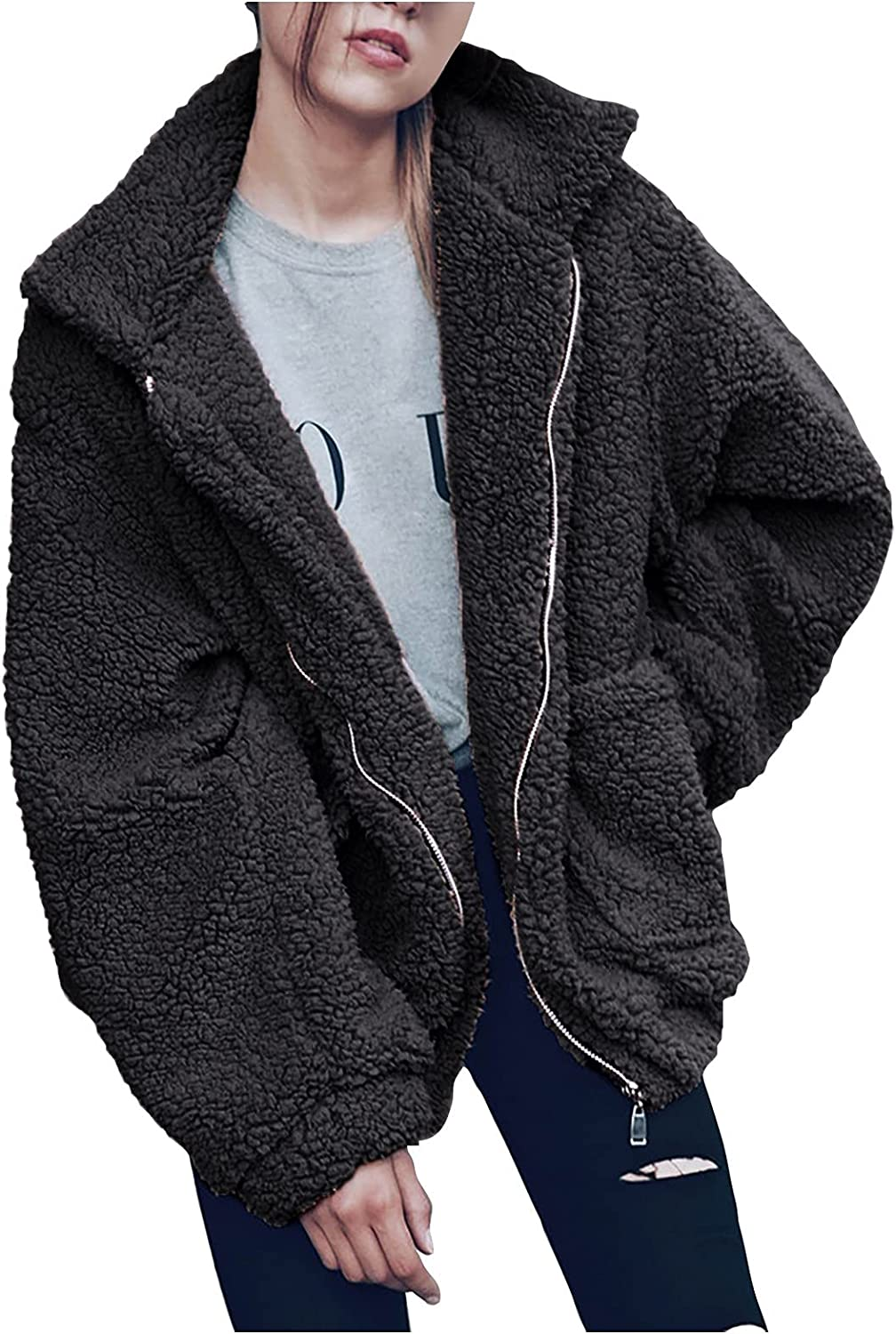 Women Pure Color Plush Coats Lined Loose Puffer Jacket Lapel Warm Outwear With Pockets Lightweight
