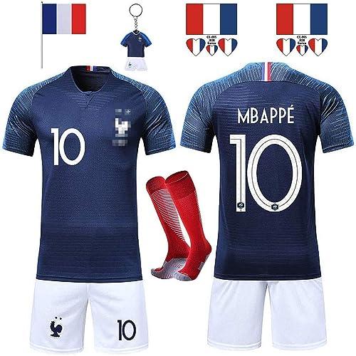RONGLI Maillots de Football T-Shirt 2 Étoiles Vêtements de Football avec Chaussettes et Accessoires Chemise de Footba...