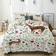 882 AHvu Parure de lit avec Housse de Couette en Microfibre,cerf dessiné Main Maman et cerf bébé,Housse de Couette 220cm x...