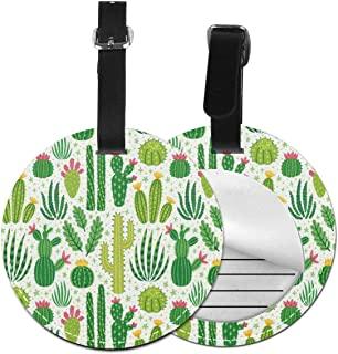 Round Luggage Tags Cute Cactus PU Leather Suitcase Labels Bag