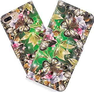 HMTECH Para Huawei Y7 2018 Funda Mariposa Dorada PU Leather Wallet Flip con Business Card Holder Stand Function Case Compatible with Huawei Y7 2018,Gold Butterfly Green Case