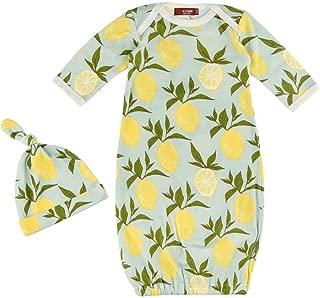 MilkBarn Organic Cotton Gown & Hat Set Lemon 0-3 Months