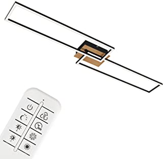 Briloner Leuchten Lámpara LED, Techo Regulable, Temperatura de Color, Control Remoto, función de luz Nocturna incluida y Temporizador, Madera-Blanco, Negro