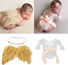 Newborn Photography Prop Outfits Girl Baby Photo 4 pcs Posing Prop Bundle Lace Vintage Romper with Ribbon Bow Angel Wings Matching Headband