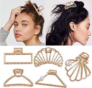 5 stuks metalen klauw haarspeldjes hol geometrisch ontwerp haarvangkaak haarspeld voor dames en meisjes (goud)