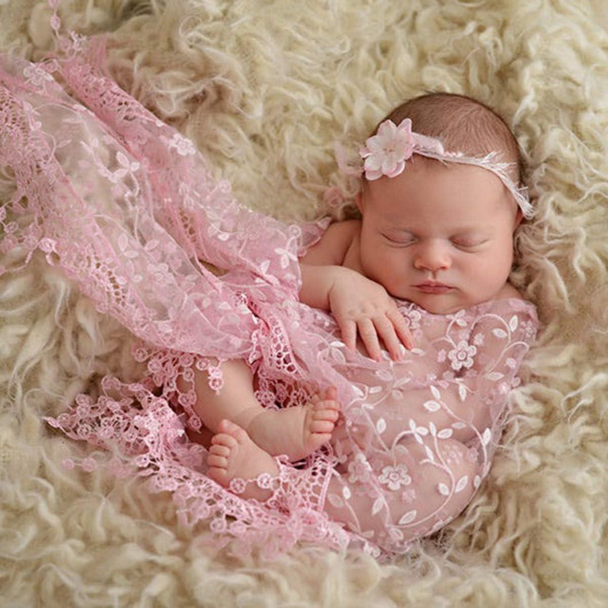 Neugeborenen Wickel Blumen Stirnband Set Jungen M/ädchen DIY Fotografie Outfits Camidy Baby Foto Requisiten 3 St/ück Baby Flauschige Decke