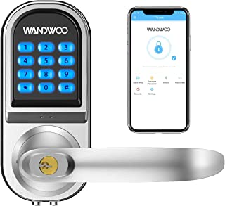 [2019 New]Smart Lock, Wandwoo Electronic Door Locks with Bluetooth Mechanical Keys Auto Lock Enabled Anti-peep Code Adjustable Hand for Office Hotel Home Garage Apartment Silver
