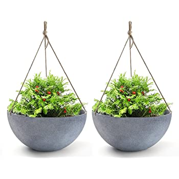 """LA JOLIE MUSE Large Hanging Planters for Outdoor Plants - Hanging Flower Pots Weathered Gray (13.2"""", Set of 2)"""