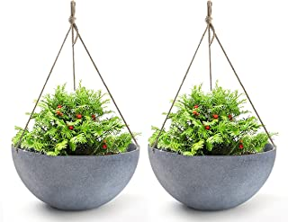 Hanging Planters Large 13.2 Inch Resin Flower Pots Outdoor, Garden Planters for Plants, Large Grey, Set of 2