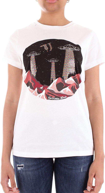 Trussardi Women's 56T001861T001632BIANCO White Cotton TShirt