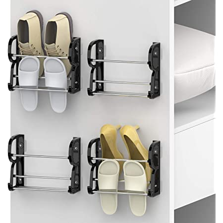 Yocice Wall Mounted Shoes Rack 4Pack/Can Store 4Pairs Sneakers and 4Pairs Slide Sandal,with Sticky Hanging Mounts, Shoes Holder Storage Organizer Shelf ,Door Shoe Hangers, Black,SM05-1inch-4Pack
