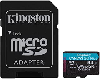 Kingston 64GB microSDXC Canvas Go Plus 170MB/s Read UHS-I, C10, U3, V30, A2/A1 Memory Card + Adapter (SDCG3/64GB)